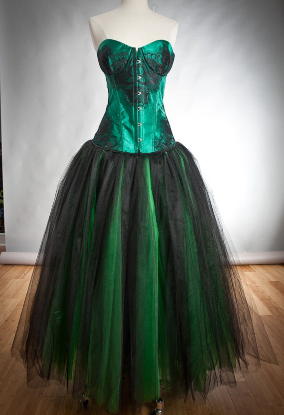 Clearance Size large emerald green and black lace and tulle burlesque prom gown witch costume Ready to Ship