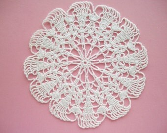 Small Crochet Doily with Star Centre White Cotton Lace