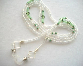 Eyeglass Lanyard Beaded Holder with Crystal AB Beads and Peridot Green Swarovski Crystal Bicones