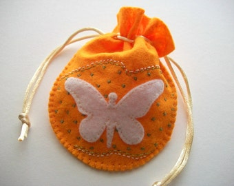 Yellow Gift Bag Felt Pouch with White Butterfly Hand Embroidered Handsewn