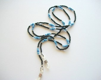 Eyeglass Lanyard Beaded Necklace with Black and Blue Seed Beads
