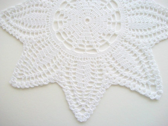 RESERVED LISTING Crochet Star Doily White Cotton Lace Handmade