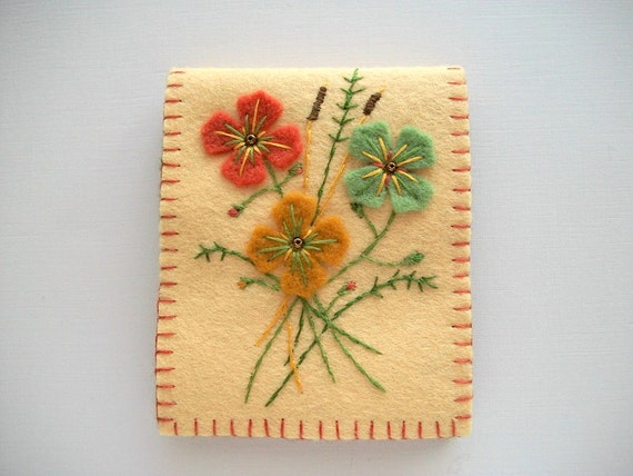 Yellow Needle Book Felt Organizer with Flowers and Hand Embroidery