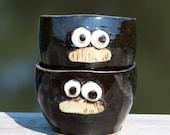 Mustaches. Set of Mustache Bowls. Black Dip Bowls