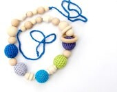 Breastfeeding Crochet necklace for Mother and teething toy for baby boy -  blue Turquoise colors. ecofriendly wood znd cotton