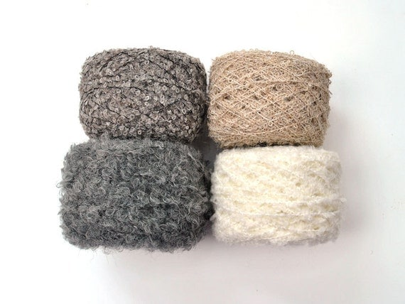 boucle alpaca Yarn natural. 4 skein of yarn of different colors and textures