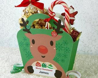 Kawaii Christmas Joy Reindeer Treat Basket Giftbag Editable Printable PDF