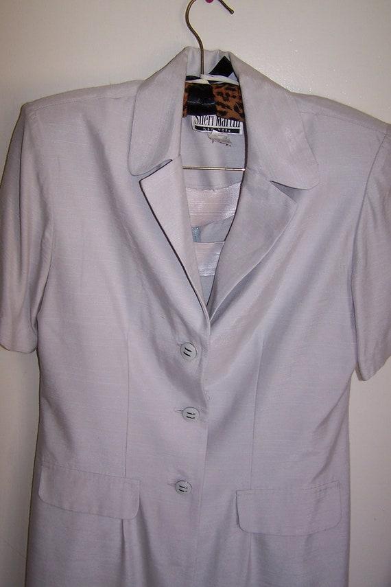 Vintage 1980s Women's Silver Suit Dress Size 8