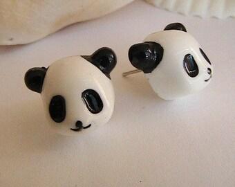 Cute Black and White Panda Bear Earrings, Post, Studs, Panda, Adorable, Cute, Kids, Children, Teens