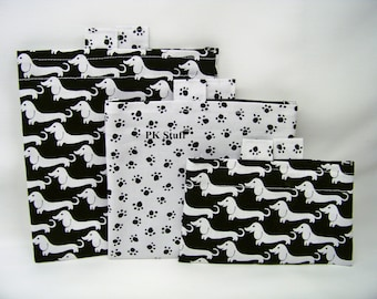 ON SALE! PK Happy Baggy Set - Weiner Dogs in Ebony - Lunch Bags - Ready To Ship