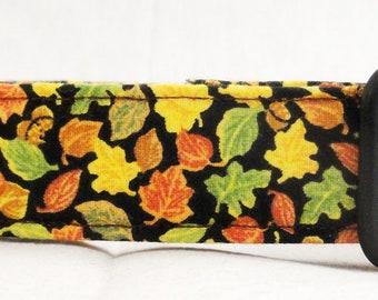 Harvest Acorns and Leaves Dog Collar Green Yellow Orange
