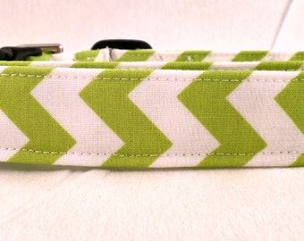Super Cute Lime Green and White Chevron Zig Zag Dog Collar