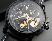 Luxury Black Mechanical Wrist Watch - Black Leather Wristband - Automatic - Men - Steampunk - Watch - Groomsmen Gift - Item MWA56