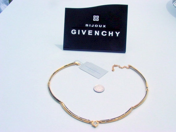 Vintage Givenchy Necklace, Stunning Givenchy Rhinestone Necklace GoldTone Modern Necklace Signed Vintage Jewelry Jewellery French Couture