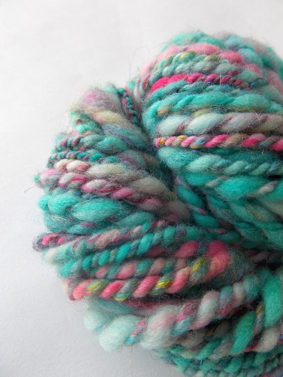 merino Handspun Yarn . cotton candy pink and blue, silk and sparkle