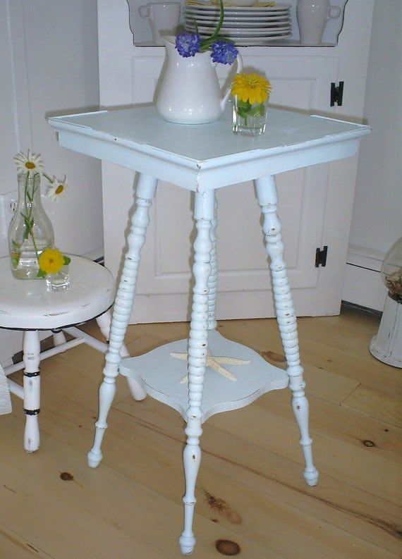 shabby chic table  plant stand   aqua (RESERVED FOR DIANE)