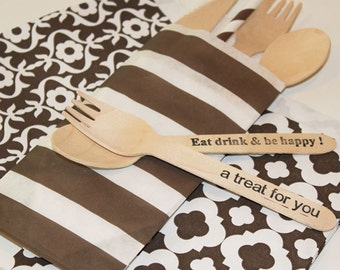 Paper Bags, 20 Brown Stripe Silverware Bags, Brown Paper Bags, Rustic Weddings, Spoon and Fork Bags, Party Treat Bags, Table Setting, Favors