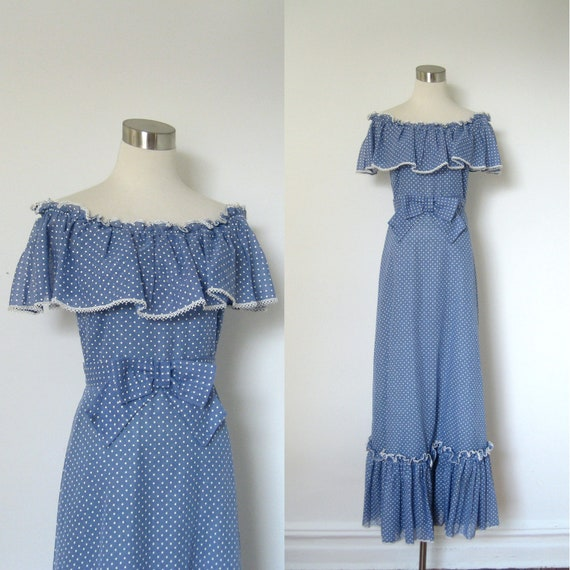 1970s Dress / 70s Blue Polka Dotted Maxi Dress / Prairie (small S)