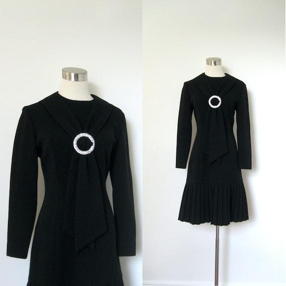 1960s Dress / 60s Black Wool Pleated Hem Dress / Rhinestone Ascot (medium M)