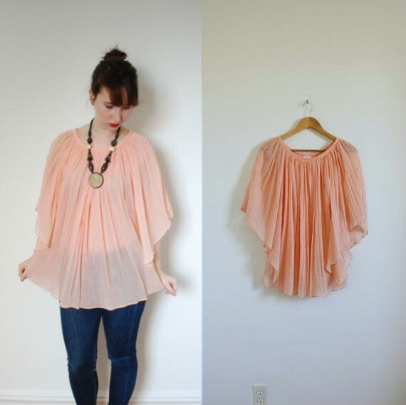 1960s Blouse / 60s Ultra Flowy Pale Pink Sheer Top / Pleated