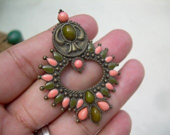 Unique Vintage Bohemian style Bronze tone Enamel and Plastic cabochon Pendant in olive green and coral