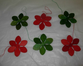 Set of 6 Scandinavian Wood Snowflakes in Red and Green for Holiday and Christmas Decorating