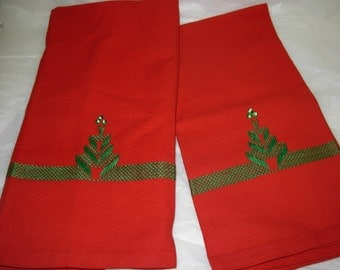 Two Vintage Handmade Bright Red Hand Towels with Swedish Embroidery in Green Christmas Tree Motif, Like New Condition, Have Never Been Used