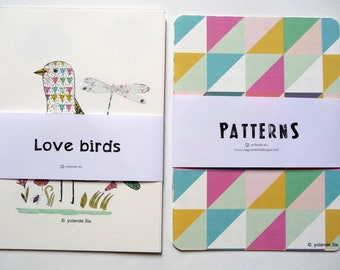 """Cards Geometric patterns and birds drawings - size 4x6"""" (10,5x15cm) 8 cards"""