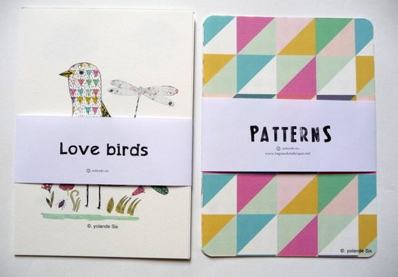 """Cards Geometric patterns and birds illustration - postcards or to frame size 4 x 6"""" (10, 5 x1 5 cm) 8 cards"""
