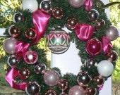Splash Of Pink Christmas Holiday Wreath Vintage Glass Ornaments