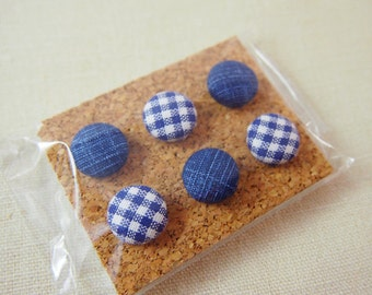Message Board Fabric Covered Pushpins Set in Dark or Light Blue