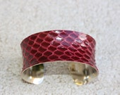 ON SALE- Snakeskin Leather Cuff Bracelet - Deep Cranberry Red
