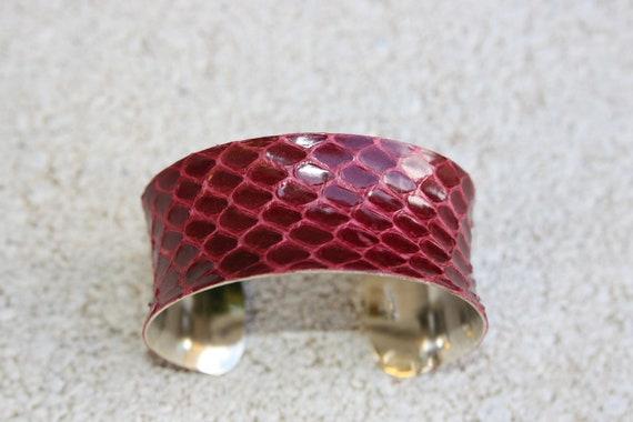 ON SALE- Snakeskin Leather Cuff Bracelet - Deep Cranberry Red