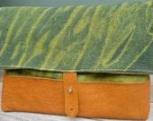 "Arashi shibori organic cotton hemp linen leather hand dyed green ""river"" pouch clutch"