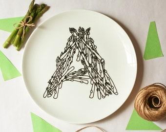 A for Asparagus  - Alphabet Ceramic Plate