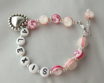 Big Sister Little Sister Bracelet Personalized Name  Pink with Heart B114