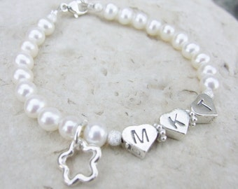 Sterling Initial Monogram Bracelet with Freshwater Pearls B037