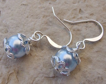 Swarovski Pearl Dangle Earrings Flower Girl Junior Bridesmaid Earrings E028