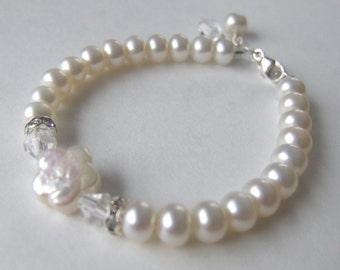 Freshwater Pearl Flower Sterling Silver Bracelet