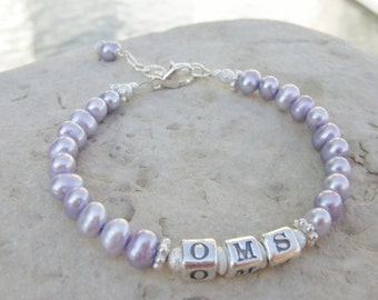 Two Years and Older Monogram Initials Sterling and Freshwater Pearl Baby Child Bracelet B140