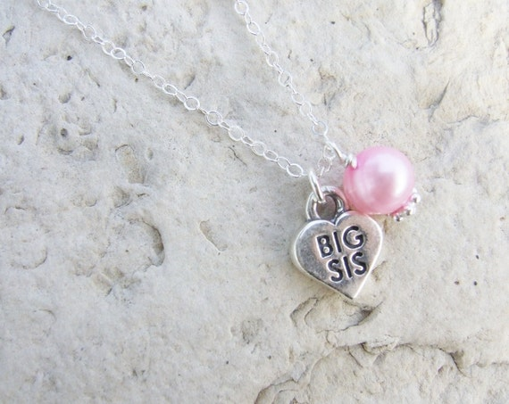 More Colors Big Sister Necklace with Freshwater Pearl or Little Sister Necklace with Freshwater Pearl N027