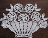 Crochet Flower Basket Handmade Vintage Decorative Textile Artwork