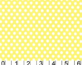 Michael Miller Fabric Polka Dot KISS 1/4 quarter inch White Dots on Yellow