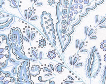 OOP HTF 19 inches Leanika Fabric Dena Blue and White Paisley Leaf and Vine