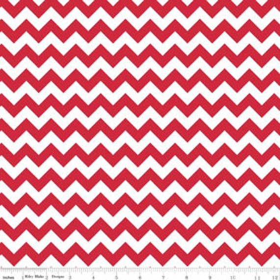 Chevron Zig Zag Fabric 1 cm Wide RB small size White and Red