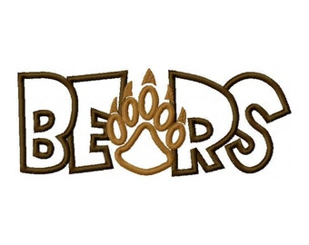 Bears  with a Paw Print Embroidery Machine Applique Design 2785
