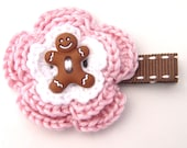 Gingerbread Man Hair Clip, Christmas Hair Clip, Holiday Hair Style, Crochet Pink Flower, Winter Hair Clip, Girls Holiday Hair Clip,Christmas
