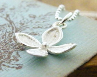 delicate flower charm white sterling silver necklace