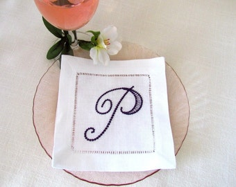 Monogrammed Linen Cocktail Napkins, Set of 6, Choose Your Own Monogram:  Cottage Roses or Elegant or Modern
