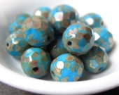 Duck egg blue . Czech glass beads . faceted rounds . 10 X 11mm . 4pcs NEW